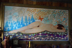 """Reclining Nude"" original painting by Sid Boyum hanging in Sid's Waubesa Street living room (August, 2015)"