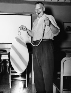 Sid with giant fishing lure.